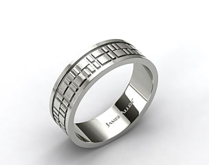 18k White Gold 8mm Art Deco Comfort Fit Wedding Band